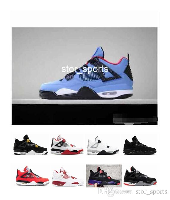 d65a2f63b227 4 CACTUS JACK Travis Scotts X 4s Houston Oiler White Cement Raptors KAWS IV Mens  Basketball Shoes Pure MONEY Royalty Sports Shoes Sneakers Women Basketball  ...