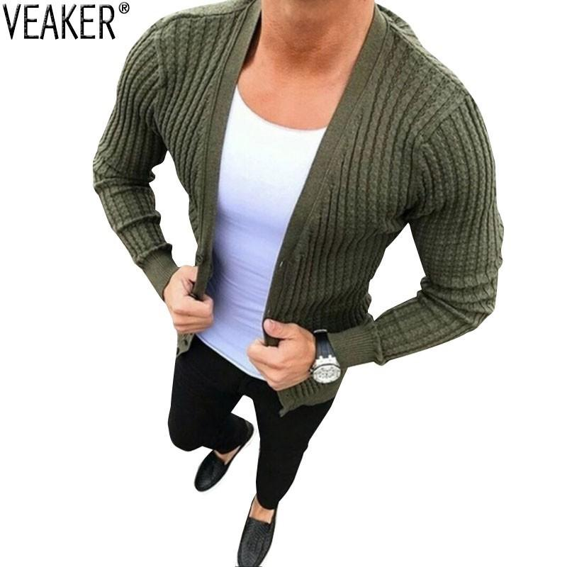 25c5876370 2018 New Men s Sexy Slim Fit Knitted Cardigan Sweaters Male Autumn ...