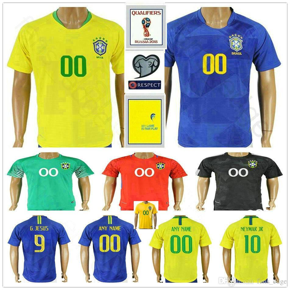 84d0869511 Compre 2018 Copa Do Mundo Brasil Camisas De Futebol 9 G. JESUS 10 NEYMARJR  22 COUTINHO 23 EDERSON 21 FIRMINO 20 LIMA Camisa De Futebol Personalizado  De ...