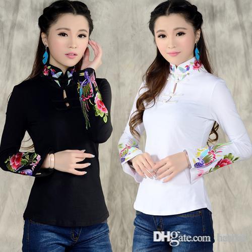0d38814a15be Camisa de estilo chino al por mayor-femenino 2016 otoño primavera étnico  negro blanco soporte cuello bordado camiseta mujer manga larga blu azul