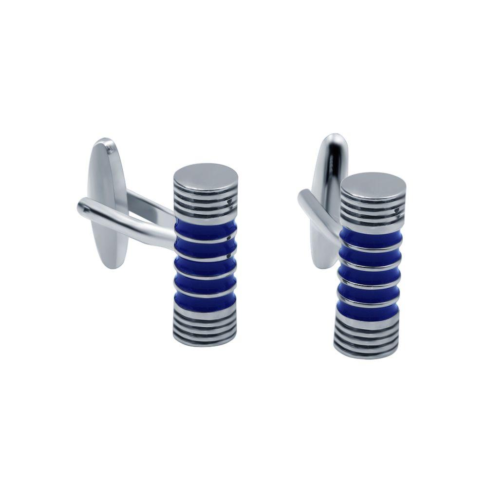 Factory Price Retail Men's Cufflinks Copper Material Blue Colour Stripe Design Enamel Cylinder Cuff Links