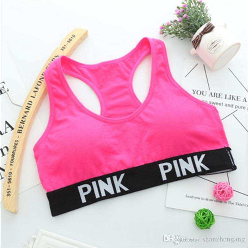 Chemises de course à pied pour soutien-gorge de yoga pour gymnase Soutien-gorge push-up Fitness Patchwork Tops love Soutien-gorge à armature réglable rose