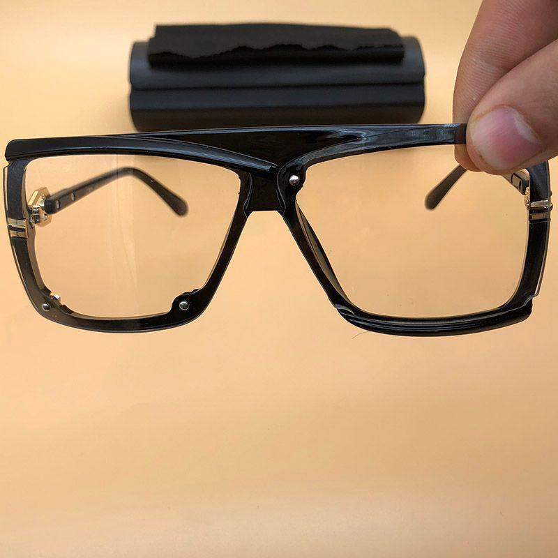 9eb2e83ec4 Large Sunglasses Black Frame Clear Lenses Eyewears Vintage Legends ...