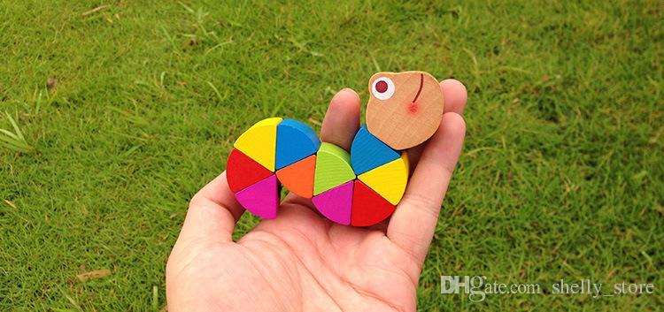 شحن مجاني جديد تمساح خشبي كاتربيلر لعبة طفل أطفال ألعاب تعليمية اللون هدية الديكور لون عشوائي