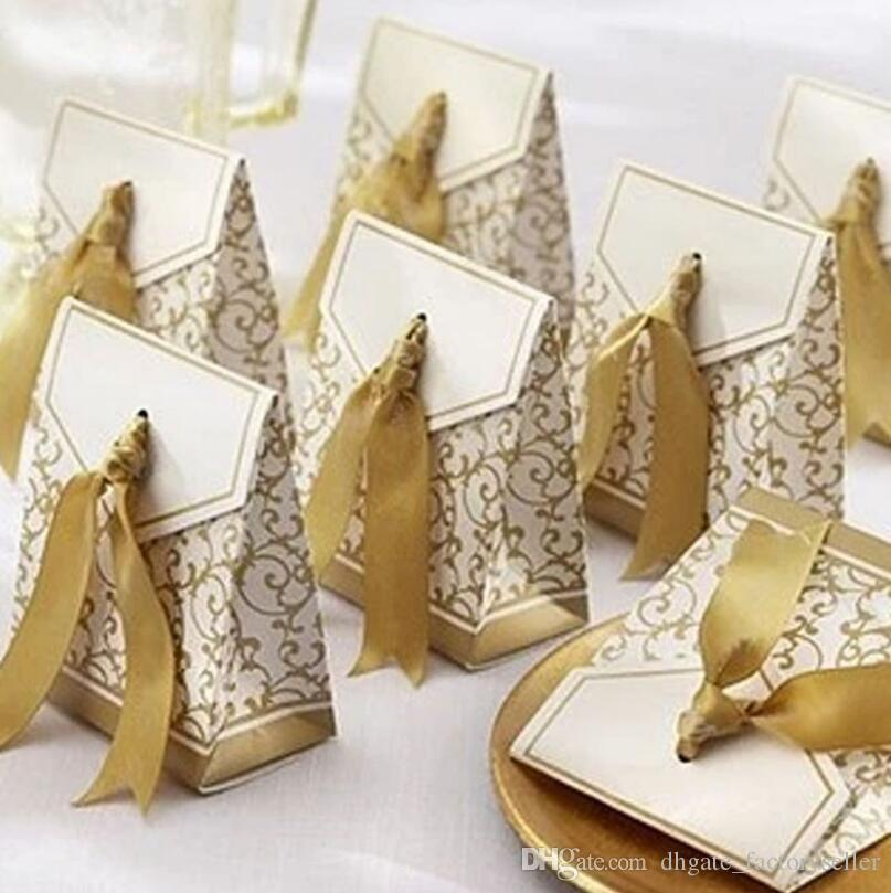 Romantic Wedding Candy Boxes Gold Silver Color Luxury Design Ribbon Party Gift Paper Bag Cookies Wrap Bags LX3851