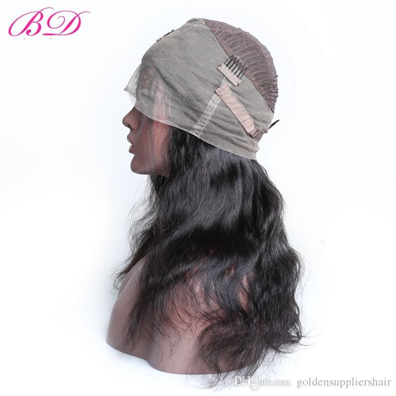 BD 150% Yoğunluk Ipeksi Düz Vücut Dalga 360 Tam Dantel İnsan Saç Peruk Brezilyalı Bakire Saç Ön Koparıp