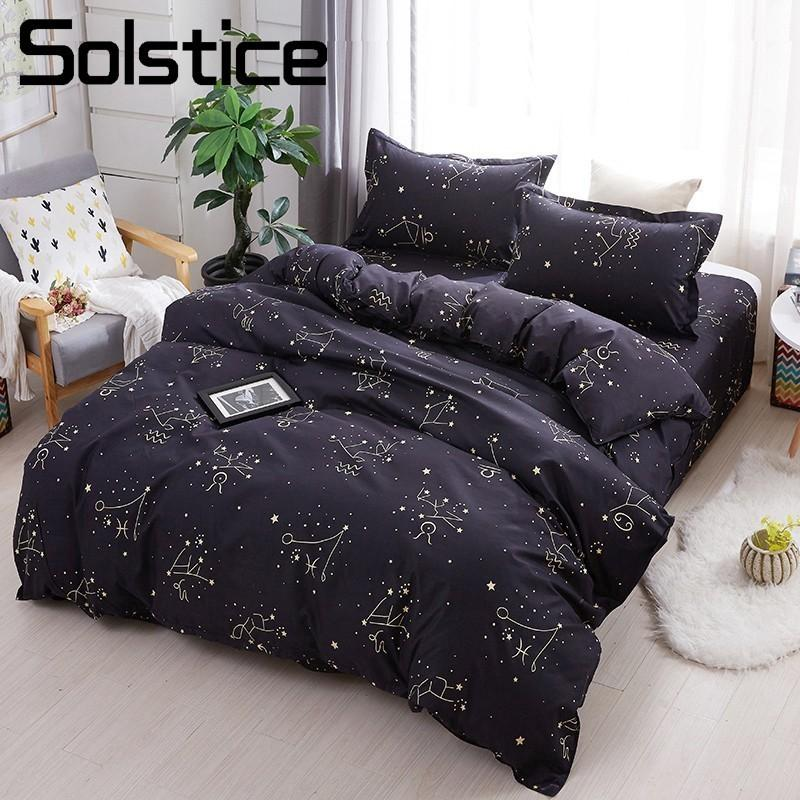 Solstice Home Textile Star Night Sky Constellation Bed Linen Kid Adult Teen Boy  Bedding Sets 3/Duvet Cover Pillowcase Sheet French Country Bedding High End  ...