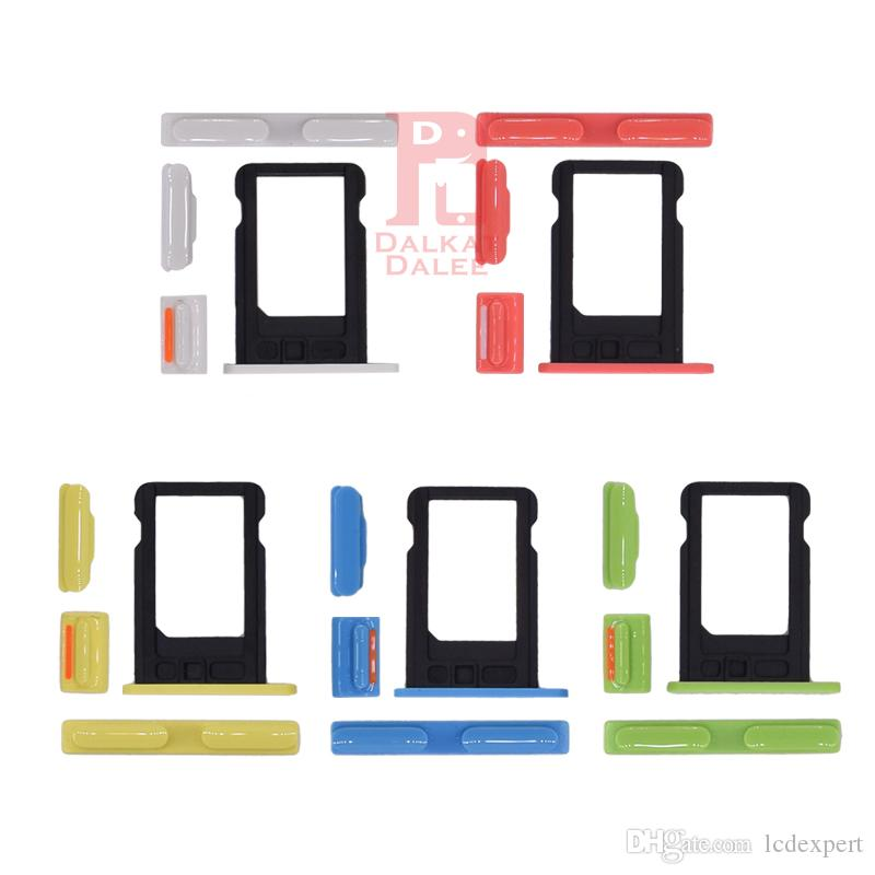 For iPhone 5C Power Button Volume Button Mute Button Side Buttons Set + Sim Card Slot Spare Parts Blue Pink White Green Yellow