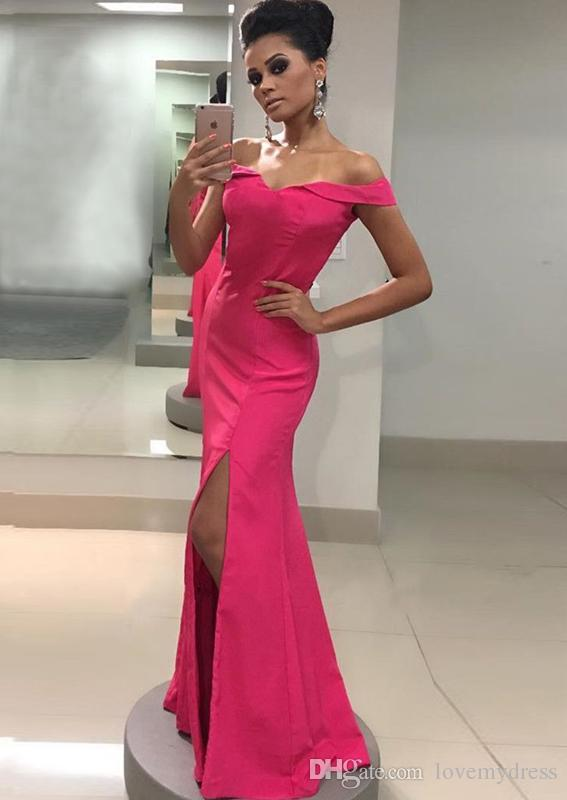 2018 Hot Pink Evening Dress Formal Gowns Long Cheap Off The Shoulder