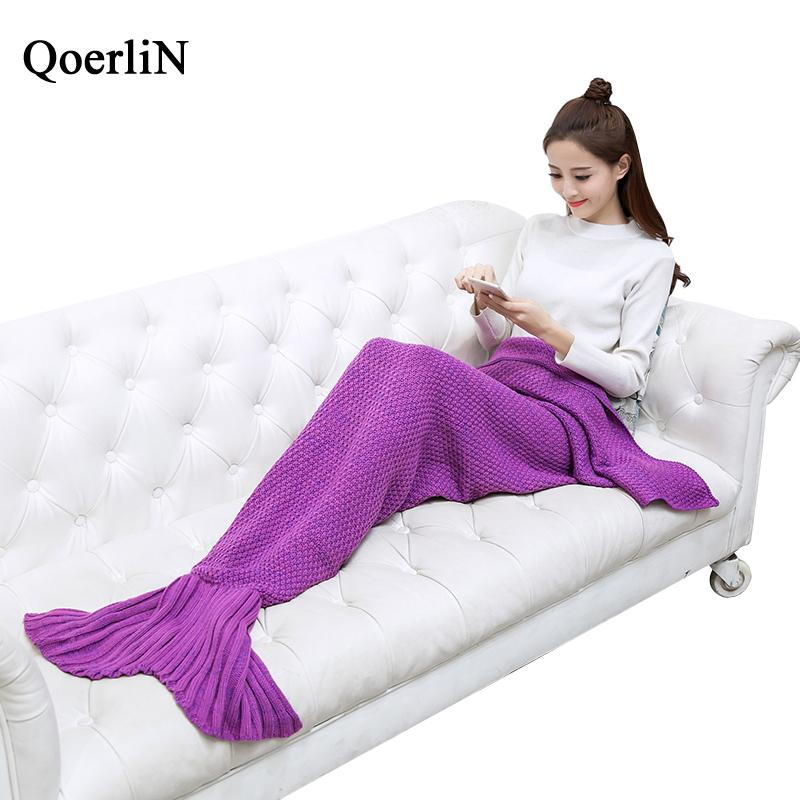 QoerliN Warm Bedding Sofa Mermaid Tail Blanket Winter Knitted Christmas Crochet Throw Bed Wrap Sofa Sleeping Fashion Home Bottom