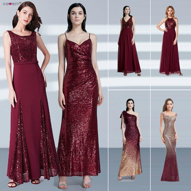 d8eb08edae Robe De Soiree Longue Ever Pretty Cheap Little Mermaid Burgundy Red Sexy Evening  Dresses Sequined Sparkle Plus Size Party Gowns C18110601 UK 2019 From ...