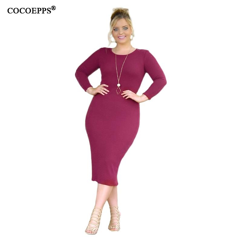 2019 Sexy 5XL 6XL Plus Size Bodycon Dress Long Sleeve Big Size Spring  Dresses 2018 New Large Ladies Dress Solid Bandage Vestidos From Watch2013 eeb537b42619