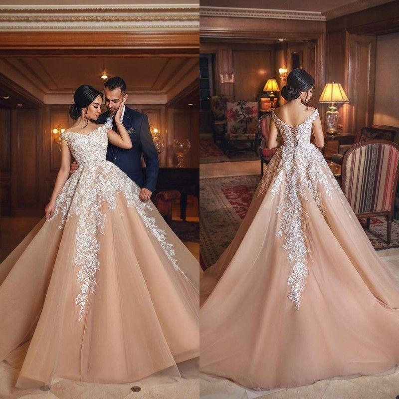 821e7a31117 Discount 2018 Arabic Modern White Lace Applique Wedding Dresses A Line V  Neck Off Shoulder With Corset Back Long Tulle Bridal Vestidos De Soriee  Indian ...
