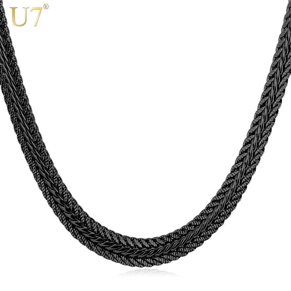 5d6388e90127 2019 U7 Men Long Necklace Black Trendy 6MM 6 Size Unique Foxtail Chain  Necklaces   Pendants Men Fashion Jewelry N561 From Nylonshan