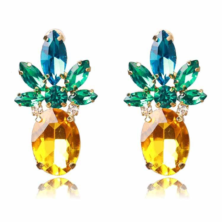 Holylove Vibrant Color Pineapple Earrings Jewelry with Crystal& Glass Beads for Beach Wedding Party Outfits with Gift Box vjLWo