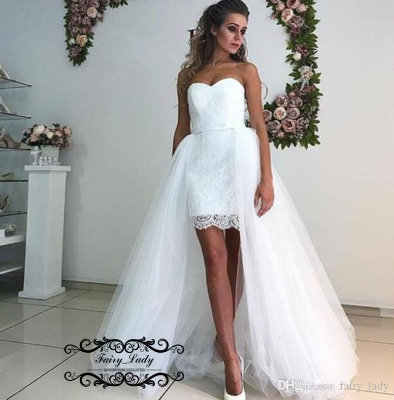 2018 Romantic Beach Wedding Dresses With Detachable Skirt High Low Vestido De Noiva White Lace and Tulle Bridal Dress Formal Gown