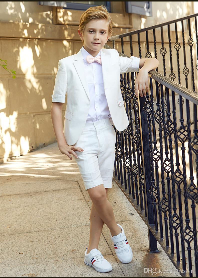 Boys Tuxedo Summer Boys Dinner Suits Boys Formal Suits Tuxedo for Kids Tuxedo Formal Occasion White Suits For Little Men Two Pieces