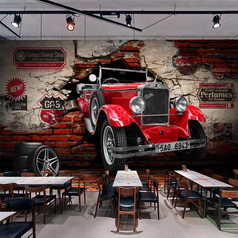 Custom 3D Wall Paper Retro Red Car Photo Wall Murals