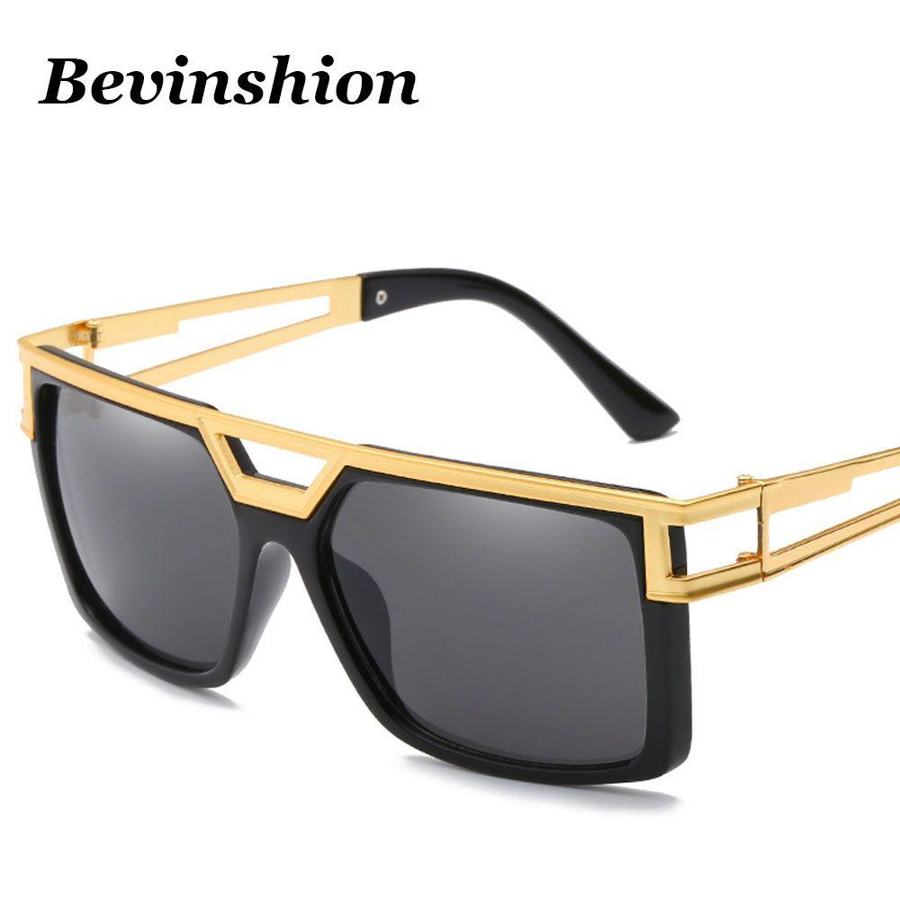 3e4c3d4bf2a1 Brand Designer New Square Sunglasses Men Metal Oversized Big Frame ...
