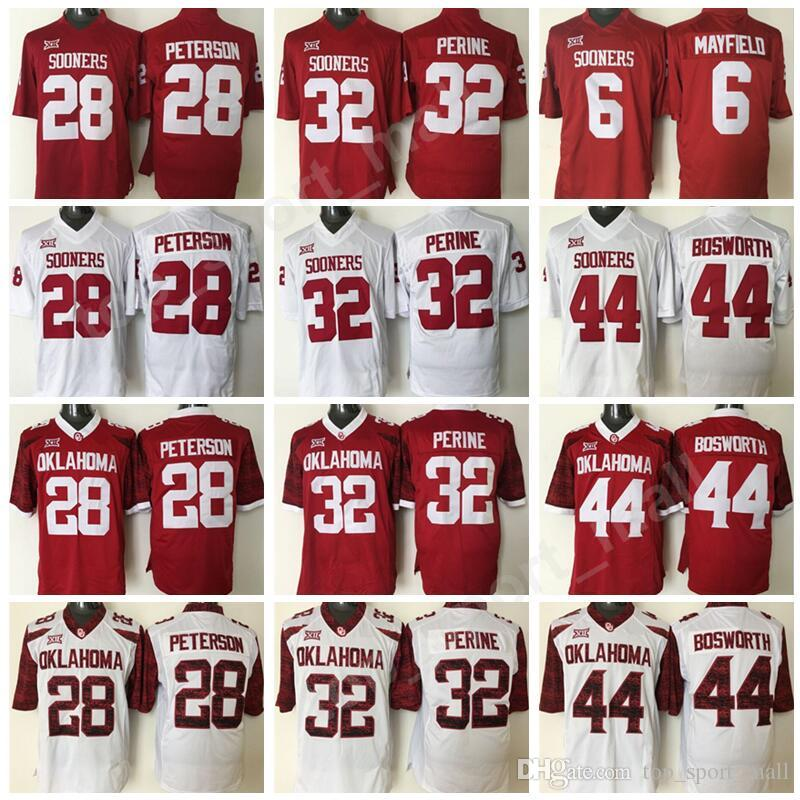 new product 5b9c3 e3a7c Oklahoma Sooners College 28 Adrian Peterson Jersey Men Foorball Red White  32 Samaje Perine 44 Brian Bosworth Jerseys All Stitched Quality