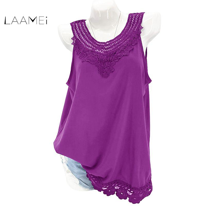 3f7dc5282 2019 Laamei Plus Size Lace Tops Women Summer Vest Crochet Lace Sleeveless  Solid Sexy Tank Top Female EleO Neck Hollow Out Shirts From Tt2015, ...