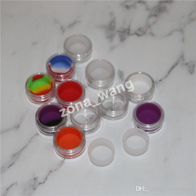 Şeffaf bho plastik kaplar 5ml akrilik dab kutusu kapları balmumu bho kap e-çiğ açık silikon yağı kavanoz