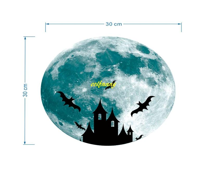 30cm Luminous Castle Deer Moon Sticker Removable Glow In The Dark Christmas DIY Sticker Wall Decal Home Decor