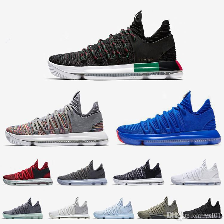 68287ad6ca6 2018 High Quality KD 10 Elite PE BHM Black 35 White X Ice Blue Red  Basketball Shoes For Kevin Durant 10s Multicolor Sports Sneakers 7 12 Kd  Basketball Shoes ...