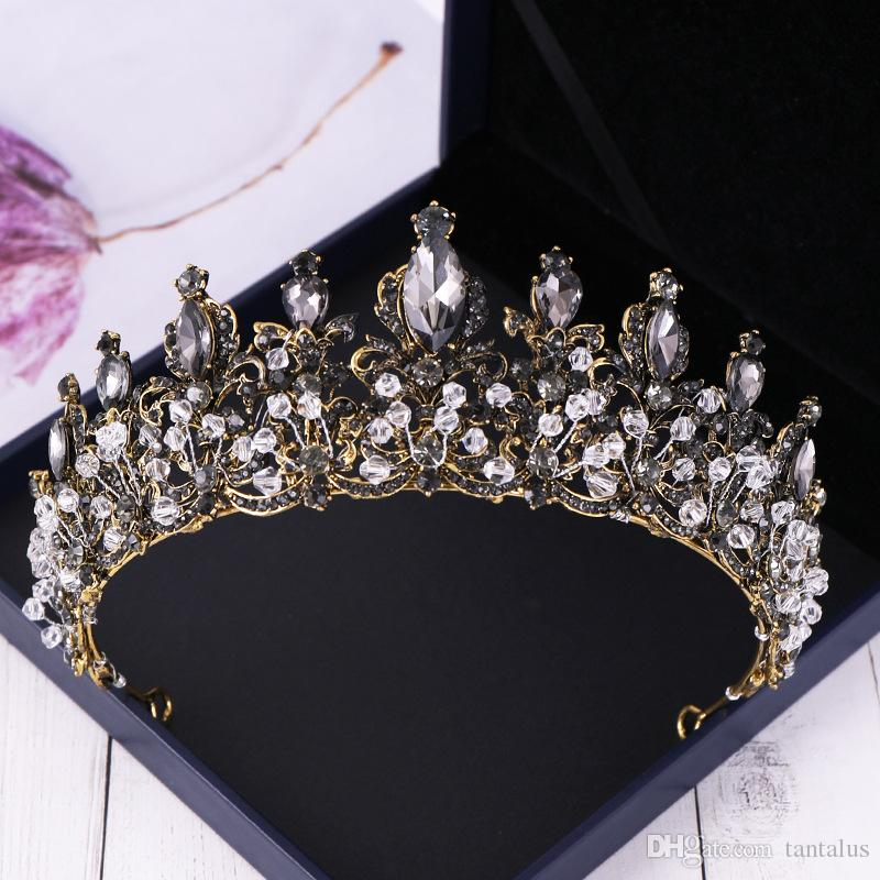 2019 Baroque Black Crystal Women Hair Jewelry Rhinestone Vintage Tiaras And  Crowns Handmade Queen Princess Bridal Wedding Ornaments From Tantalus, ...