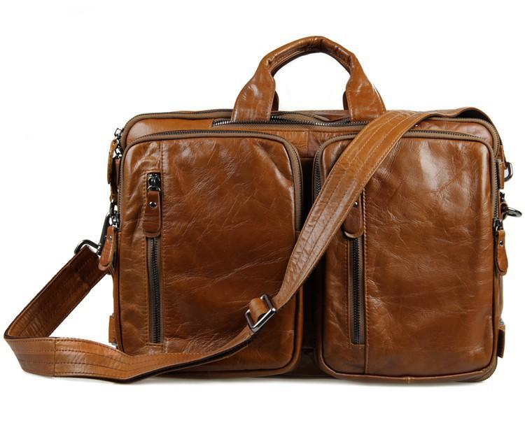 2018 homens de couro genuíno do vintage multifuncional dos homens laptop pasta crossbody bolsa de ombro mensageiro grande pacote de viagem