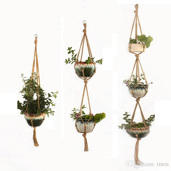 DHL Free Indoor Outdoor Plant Hanger Hanging Planter Pot Holder Flower Basket Pot Hanger Rope for Home Balcony Decoration 1/2/3 tiers
