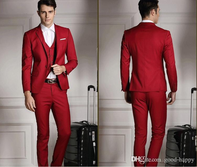 Beau Slim Fit Side Vent Rouge Marié Smokings Hommes Robe De Mariée Vêtements De Bal Veste + pantalon + cravate + Gilet NO 552
