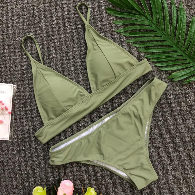 Summer Cloth 2019 Solid Color Pink Blue Black Colors Women Clothing Swimwear V Shaped Double Shoulder Adjustable Shoulder Middle Waist
