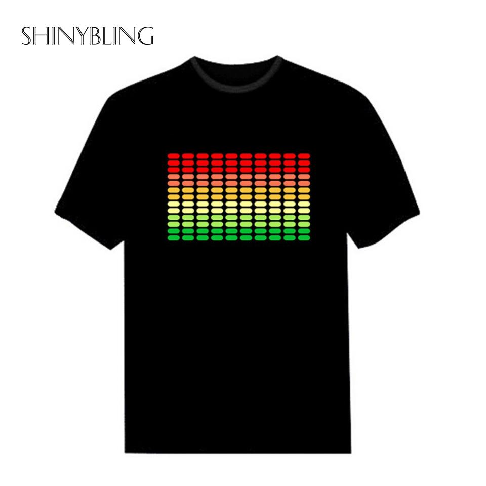 Men's Costumes Hot Sale Sound Activated Led Cotton T Shirt Light Up And Down Flashing Equalizer El T-shirt Men For Rock Disco Party Dj Top Tee Outstanding Features