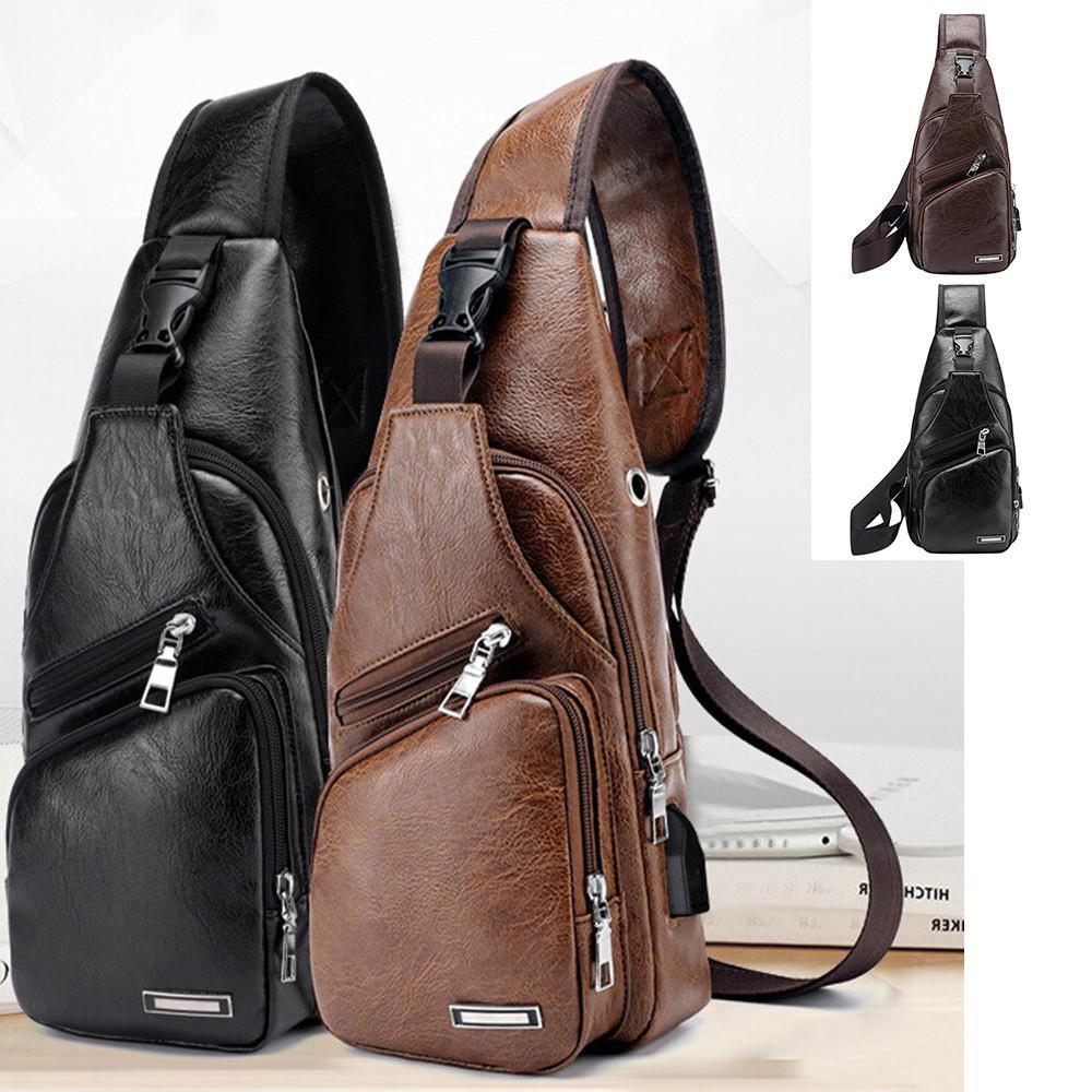 0c6427d58 Men'S Crossbody Bags Men'S USB Chest Bag Designer Messenger Bag Leather  Shoulder Bags 2018 Travel Dropshipping #30 Leather Handbags Ladies Handbags  From ...