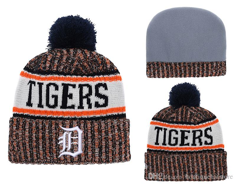 0935ee1e8a2 New Arrival Detroit Men S Knitted Beanies Good Quality Winter Warm Baseball  Teams Fans Skull Hats Tighers Pom Embroidery Cuff Beanie Cap Beanie Hats  Beanie ...