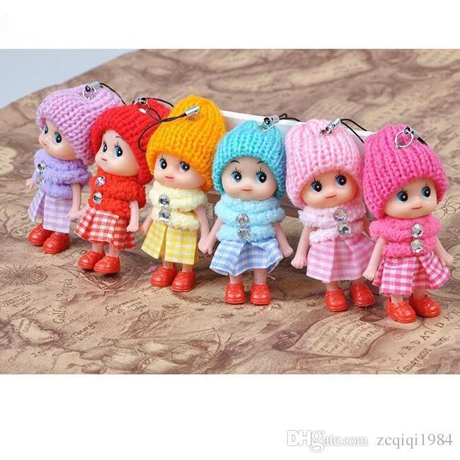 Cadeia Miúdos bonitos brinquedos macios Baby Dolls Toy Key Interactive, Titular Mini Boneca Keychain para meninas anel chave