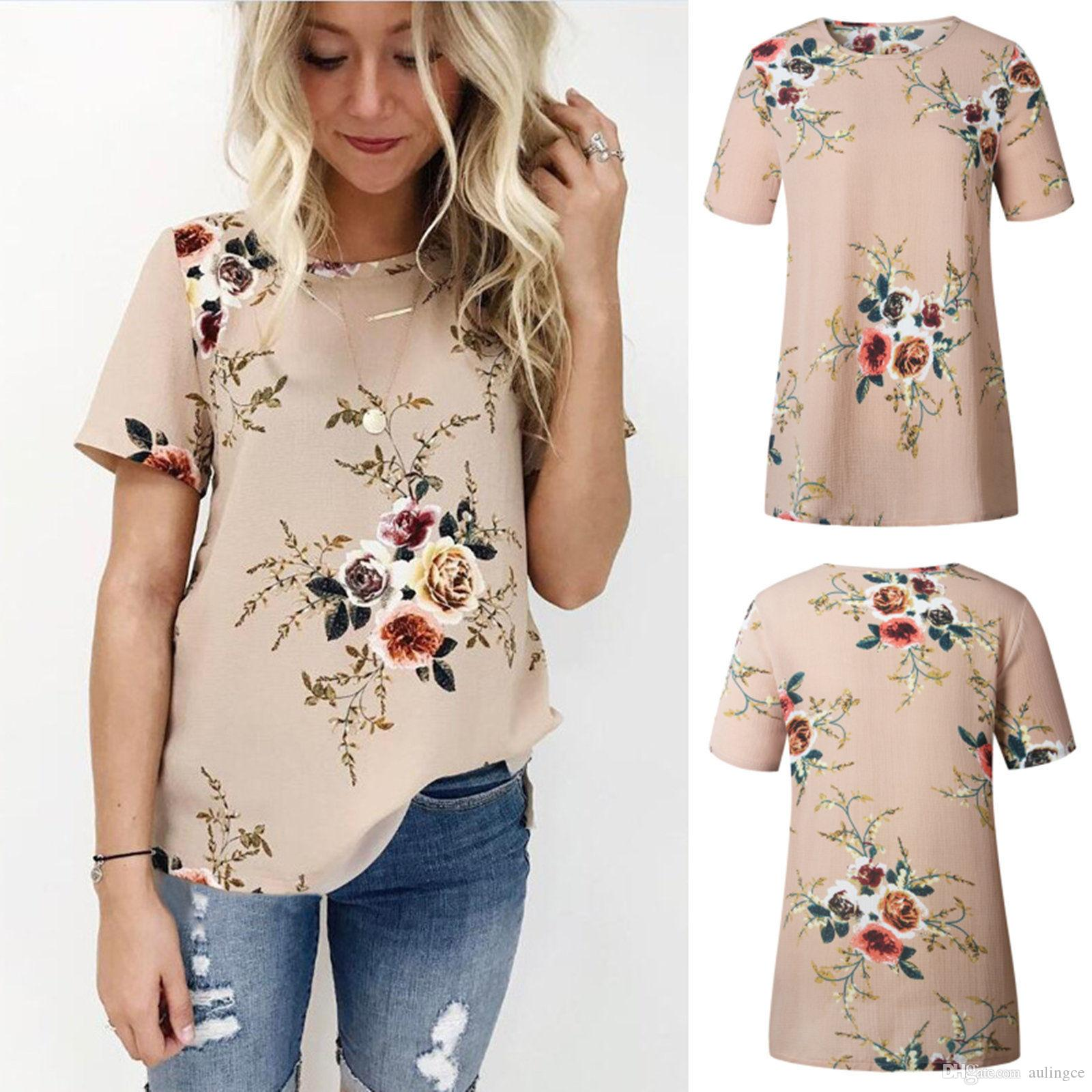5ea38012a97 Summer Floral Print Chiffon Blouse 2017 Women Blouses O Neck Short Sleeve Blouse  Shirt Girl Tops Blusas Feminina Camisetas Mujer Fun Shirt Designs For T ...