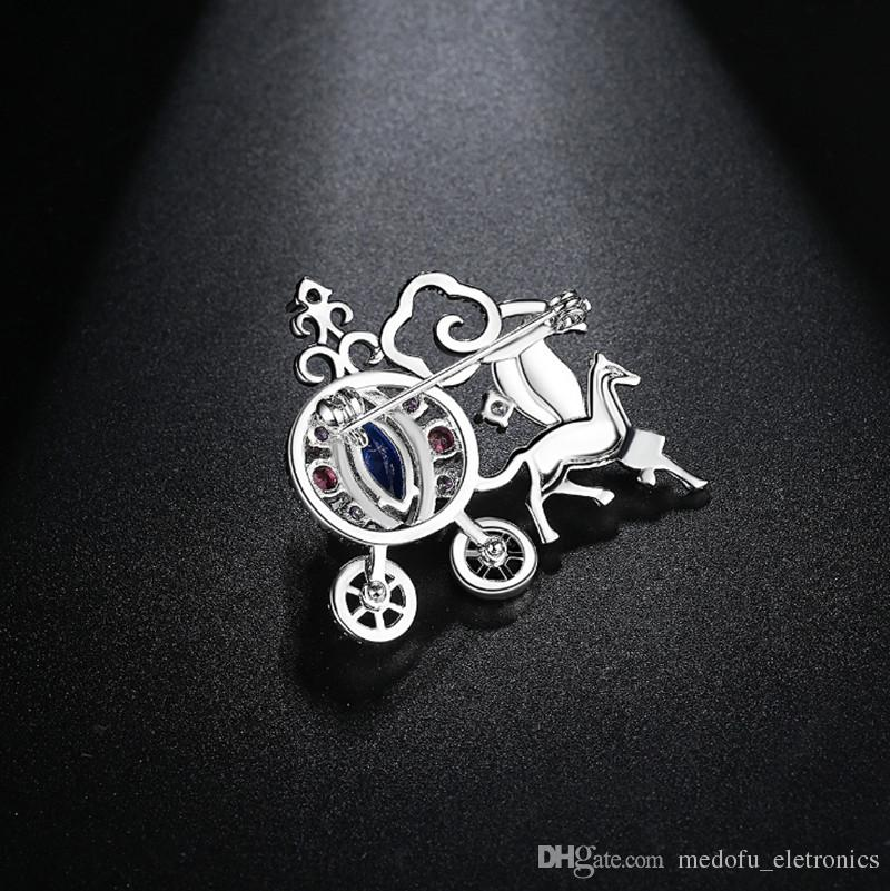 Fashion Men Women Party Suit Dress Pins Brooches 18K White Gold Plated CZ Pumpkim Car Brooch Pin Nice Gift ER-1037
