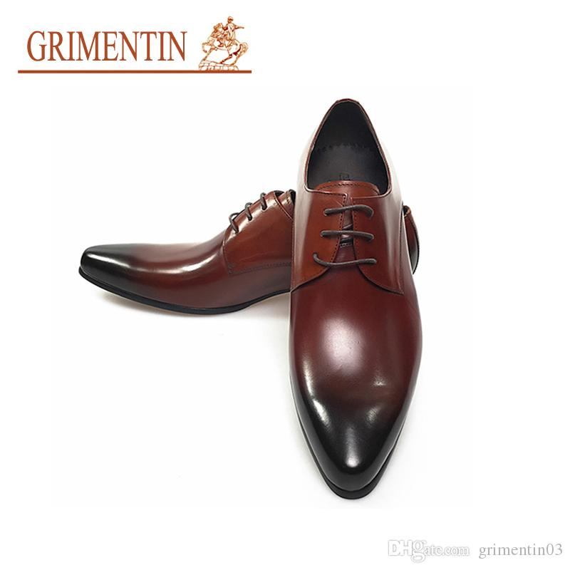 c249f9ad1 GRIMENTIN Hot Sale Italian Fashion Mens Dress Shoes Genuine Leather Brown  Black Formal Oxfords Brand Large Size Wedding Business Male Shoes Stacy  Adams ...