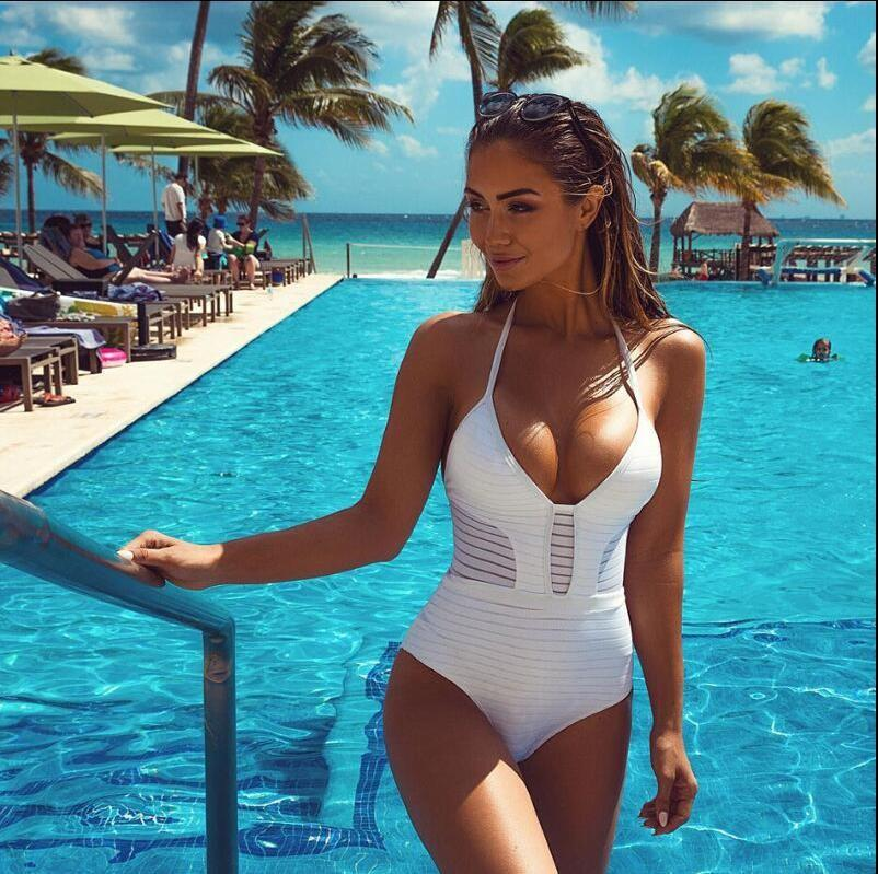 2019 2017 White Black Red Bandage One Piece Swimsuit Strappy Mesh