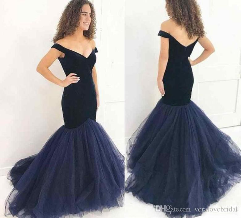 2b5902b1cf0 2018 Navy Blue Velvet Prom Dresses Mermaid Charming Formal Evening Dress  Off Shoulder Tulle Party Gowns Occasion Wear Peaches Prom Dresses Pictures  Of Prom ...