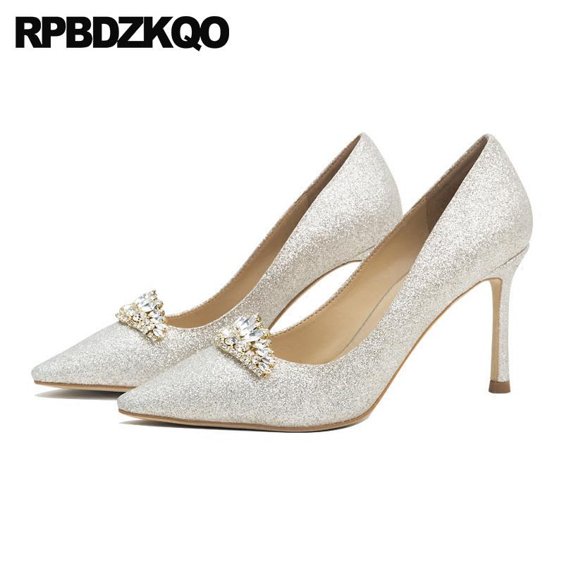 12688b2a702 Rhinestone Diamond Stiletto Ladies 2018 Glitter High Heels Pointed Toe 3  Inch Crystal Pumps Silver Bling Wedding Shoes Size 4 34 Flat Shoes Online  Clothes ...