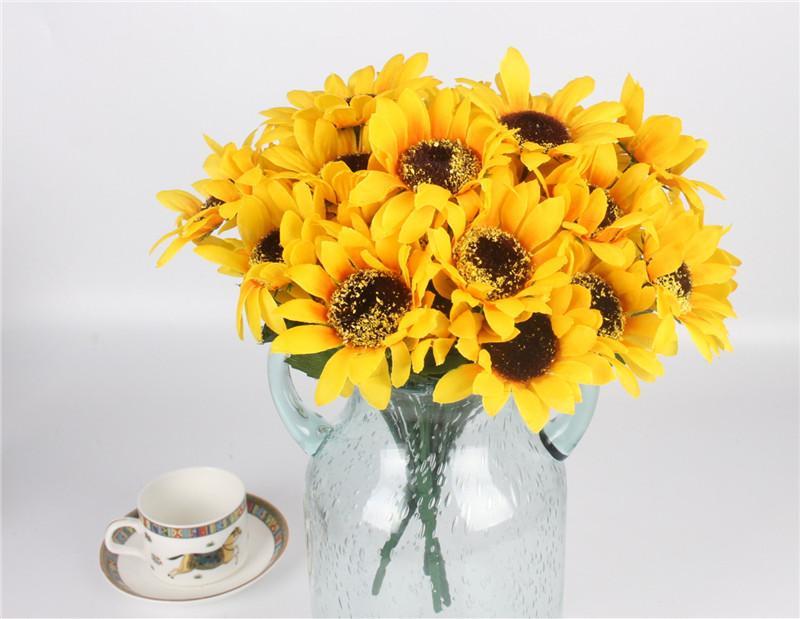 Acheter 7 Branche Bouquet Jaune Soie Tournesol Fleur De Soie De
