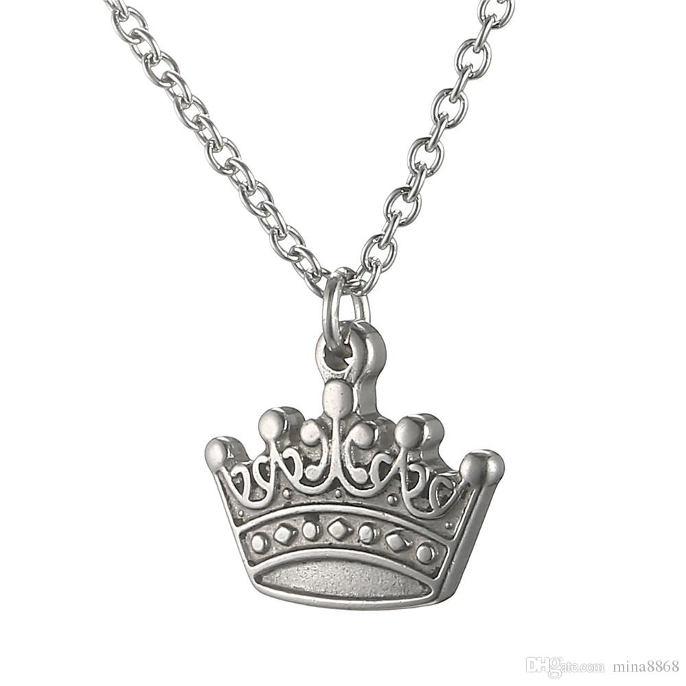 Silver Plated Royal Crown Pendant Necklace Simple Handmade Fashion stainless steel Long Chain Necklace For Women Men