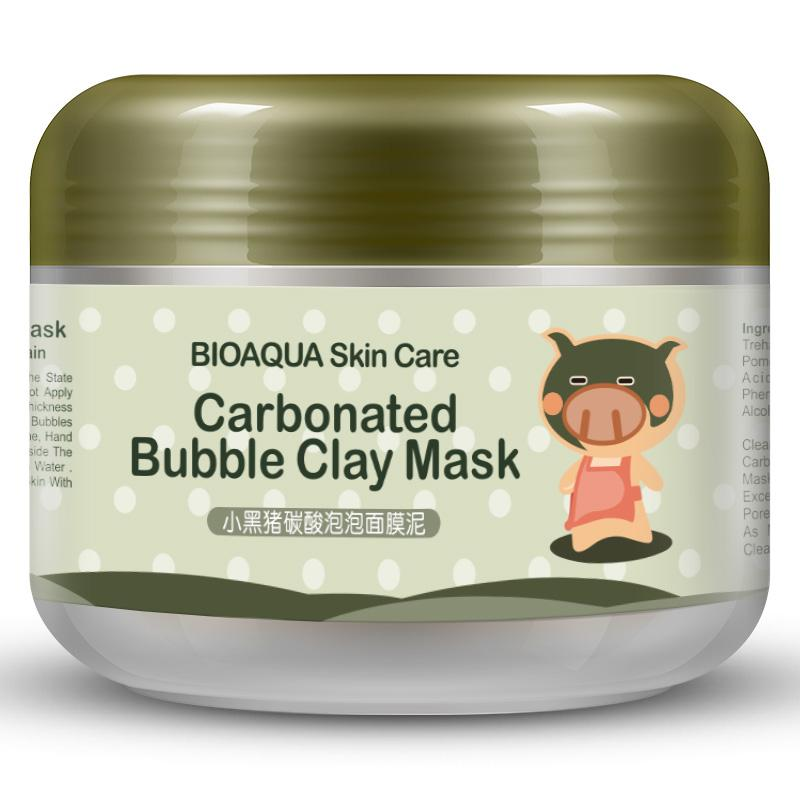 BIOAQUA Kawaii Black Pig Carbonated Bubble Clay Face Mask Facial Mask Cleaning Skin Moisturizing Anti Aging Skin Care