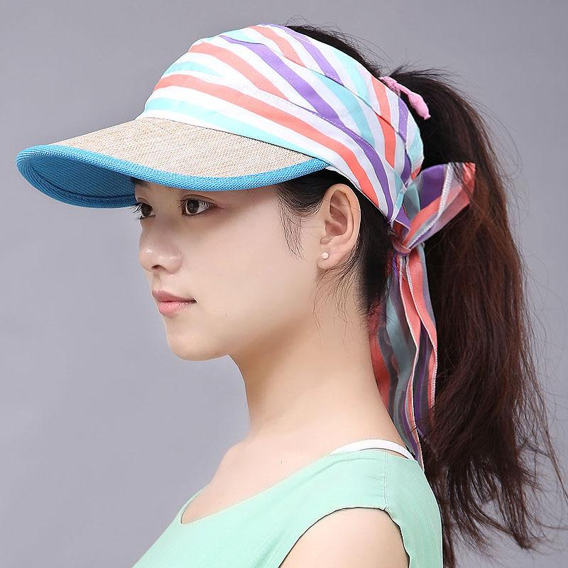 2018 Women Ladies Summer Visor Cap Tennis Sun Hat Female Girls Fashion  Outdoor Beach Hat Sports Colorful Visor Top Baseball Cap Fur Hats Men Hats  From ... e869bcd23