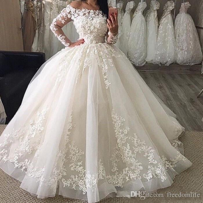 753bc57c977 2018 White Puffy Skirt Wedding Dresses Long Sleeve Tulle Off Shoulder  Applique Vintage Plus Size Ball Gown Bridal Dress Lace Wedding Gowns Low  Back Wedding ...