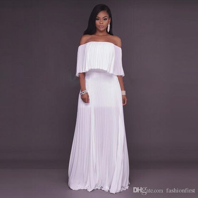 Maxi Boho Bridesmaid Dresses Long Beach Party Dress Off Shoulder Gown Chiffon Ruffle Off the Shoulder Dress