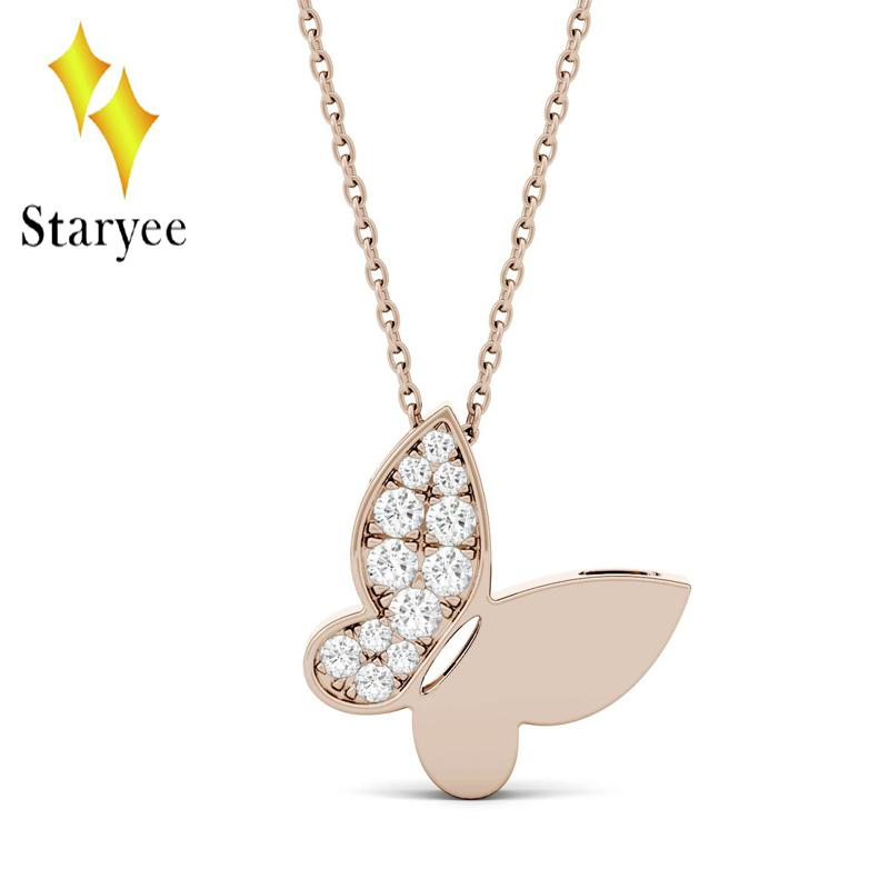 4cff194c0 2019 Real 18K 750 Rose Gold Butterfly Pendant GH Color Lab Grown Moissanite  Diamond Pendant Necklace For Women Fine Jewelry From Frenky, $689.29 |  DHgate.